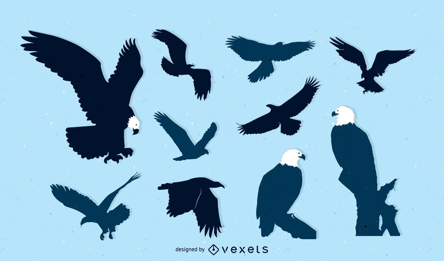 Pack silueta pájaro águila