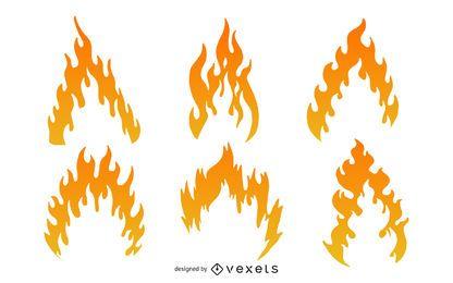 Paquete de llamas abstracto degradado