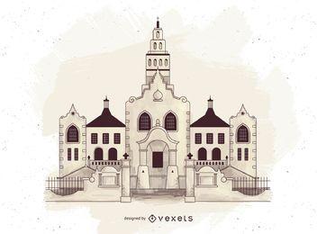 Religión ortodoxa edificios silueta