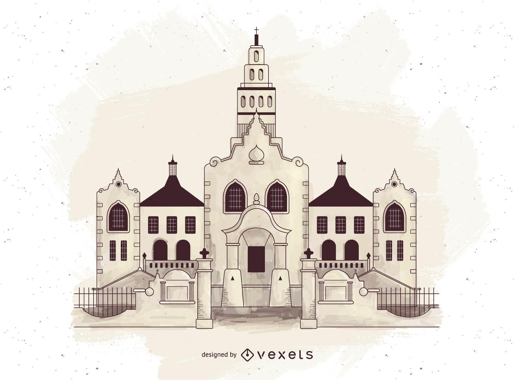 Silueta de edificios de religión ortodoxa