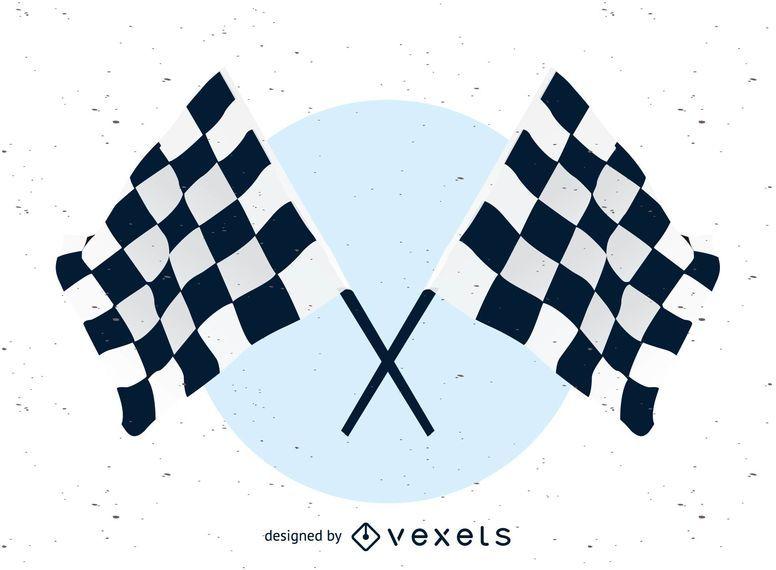 Bandera de carreras ondulada en blanco y negro