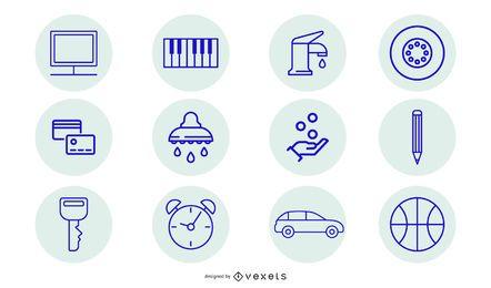 Conjunto de ícones limpos azul