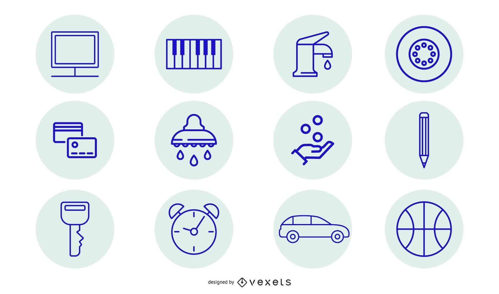 Conjunto de ícones de limpeza azul