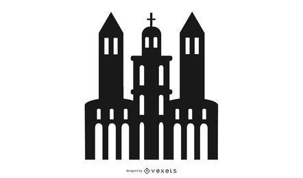 Edificio de la iglesia silueta