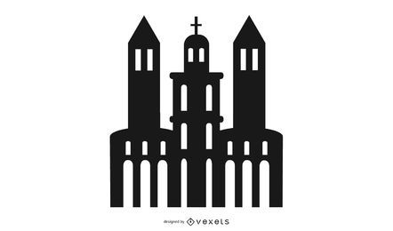 Schattenbild-Kirchengebäude