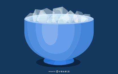 Eiswürfel mit Schüssel im 3D-Stil