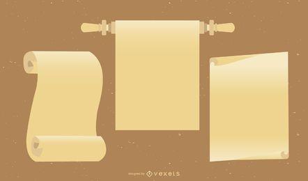 Paquete de papel vintage curvado y doblado