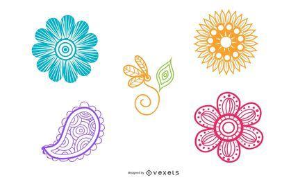 Wirbelnder bunter Blumen-Satz