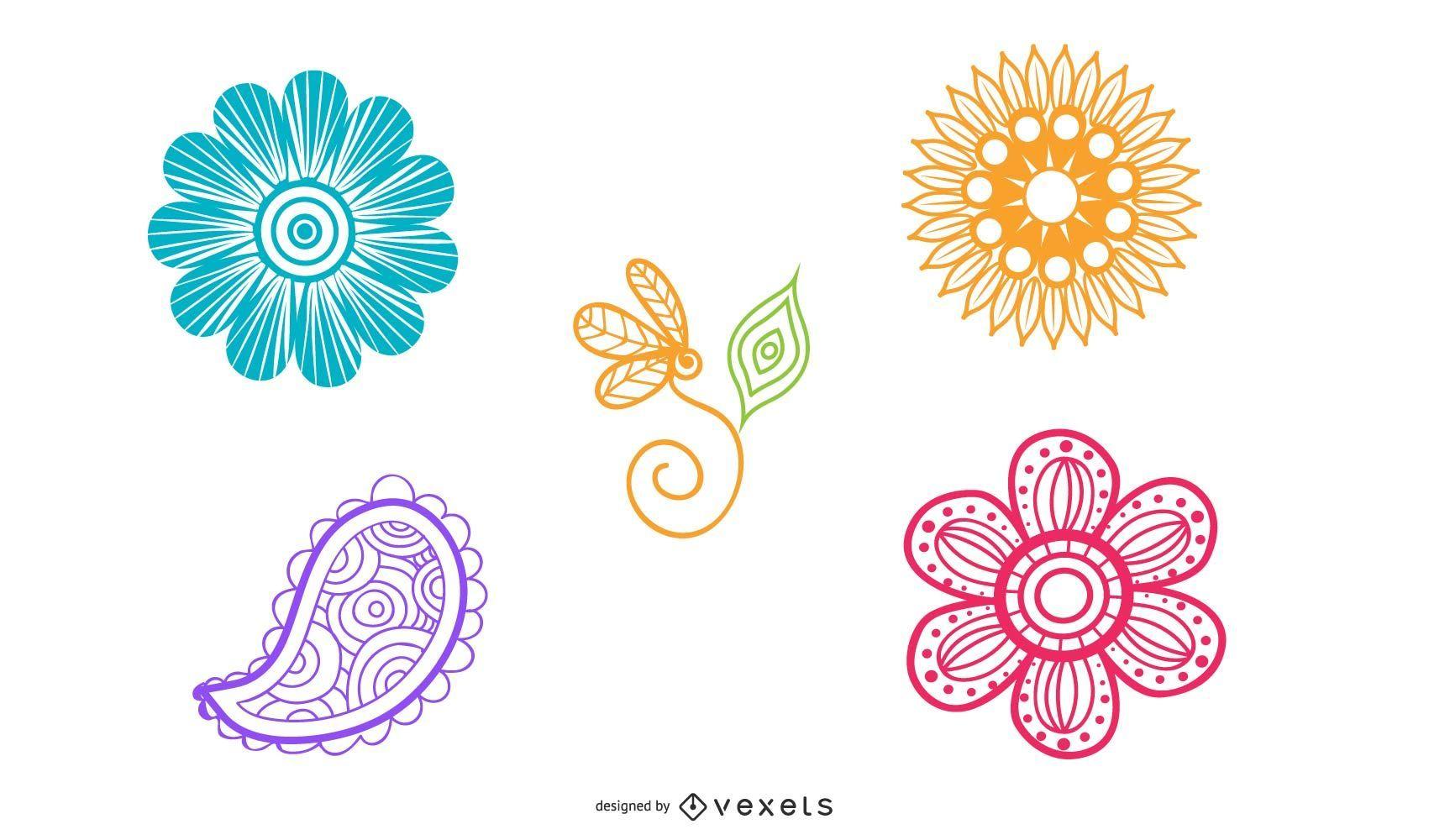 Paquete de flores de colores arremolinados