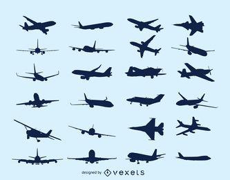 Silueta de paquete de aviones voladores
