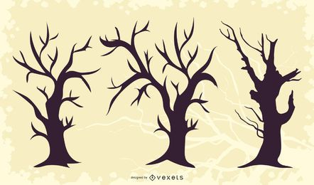 Silhueta de morto morto árvore torta