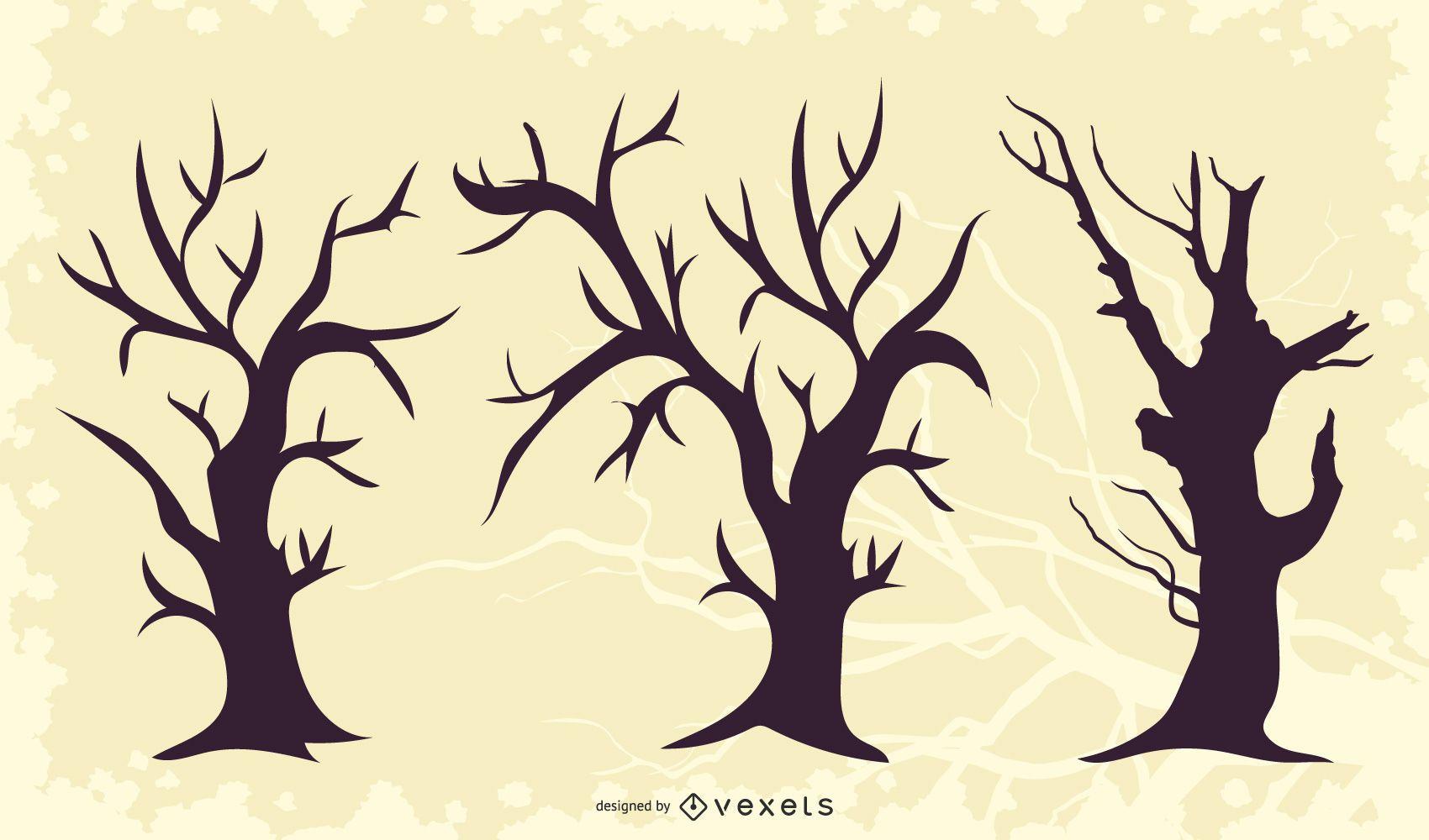 Silueta de paquete de árbol torcido muerto