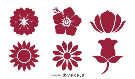 Blühende Blumen-Pack-Silhouetten