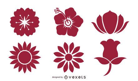 Pack de flores en flor siluetas