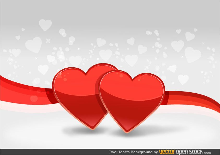 Two Hearts and ribbon - Vector download