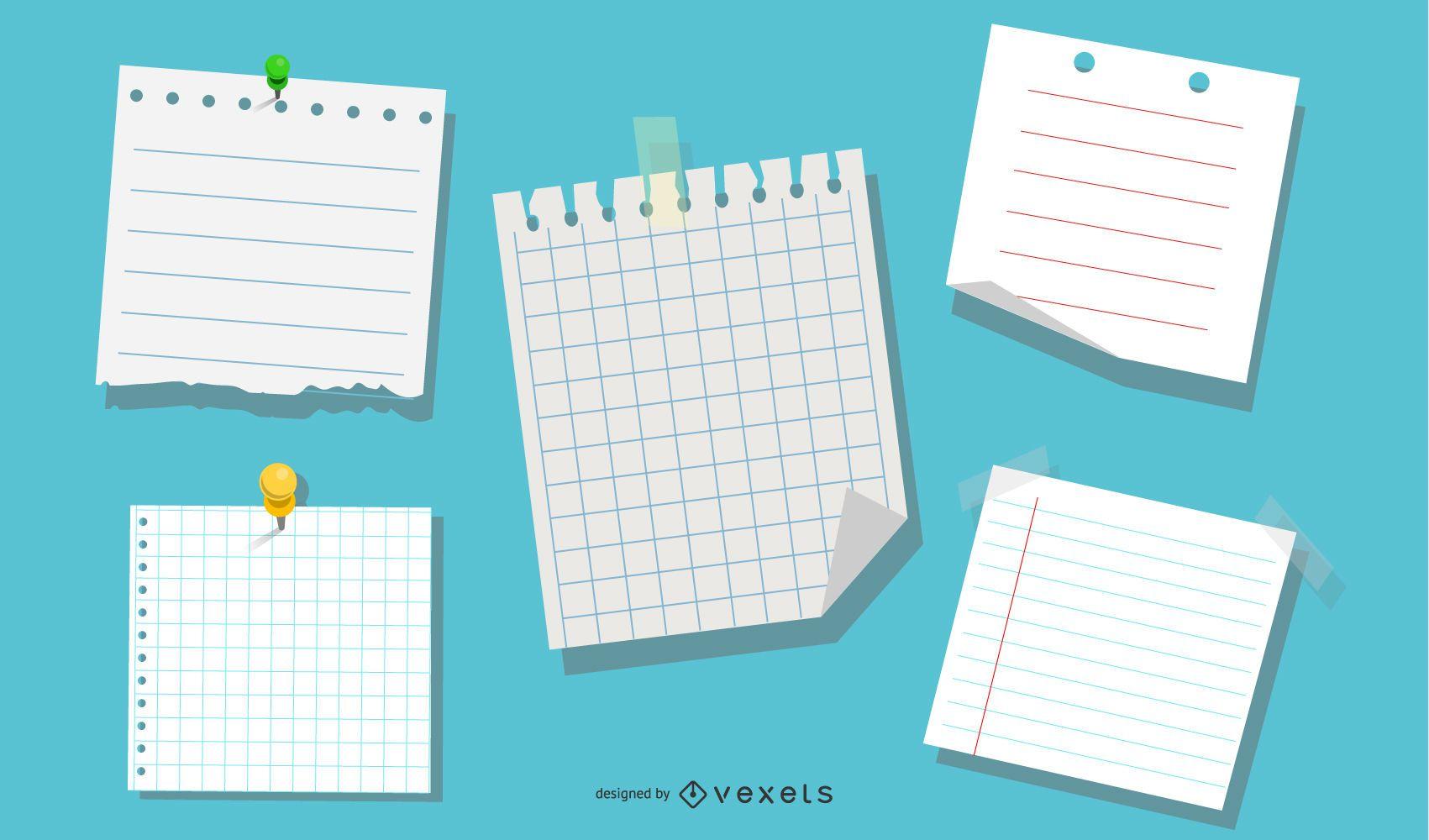 Vetor de papel para caderno