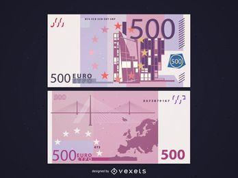 Frente e verso de notas de 500 euros