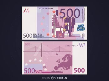 Front & Back Side of 500 Euro Banknote