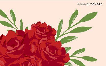 Blühende rote Rose