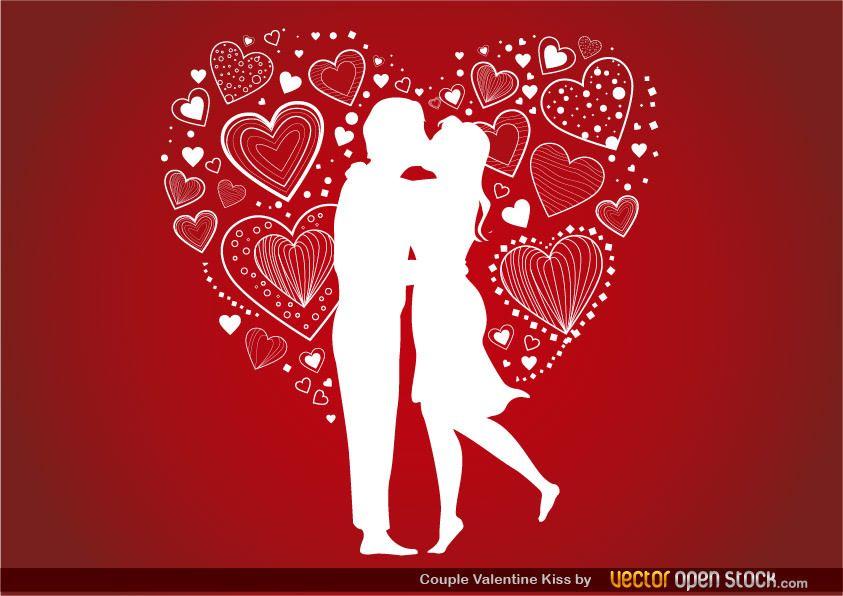 Pareja beso de San Valentín