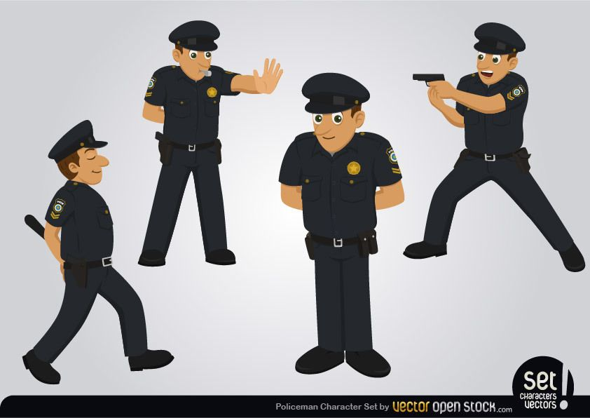 Policeman Character Set - Vector download