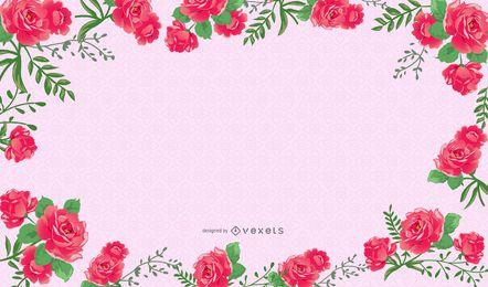 Hermoso marco floral rosa rosado