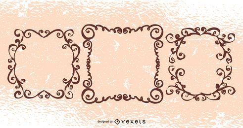 Pacote de redemoinhos Floral grungy criativo