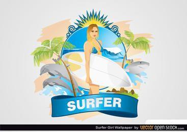 Papel de Parede Garota Surfista