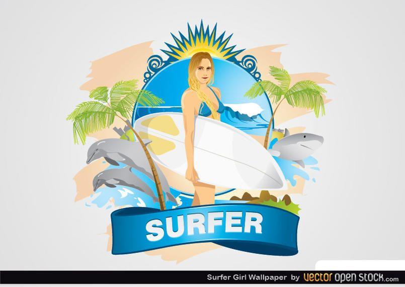 Fondo de Pantalla de Chica Surfista