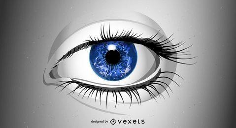Ojo realista con globo ocular azul