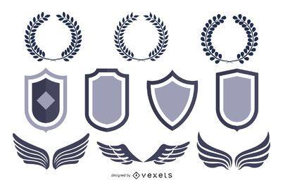 Pacote de escudo heráldico com animais e asas