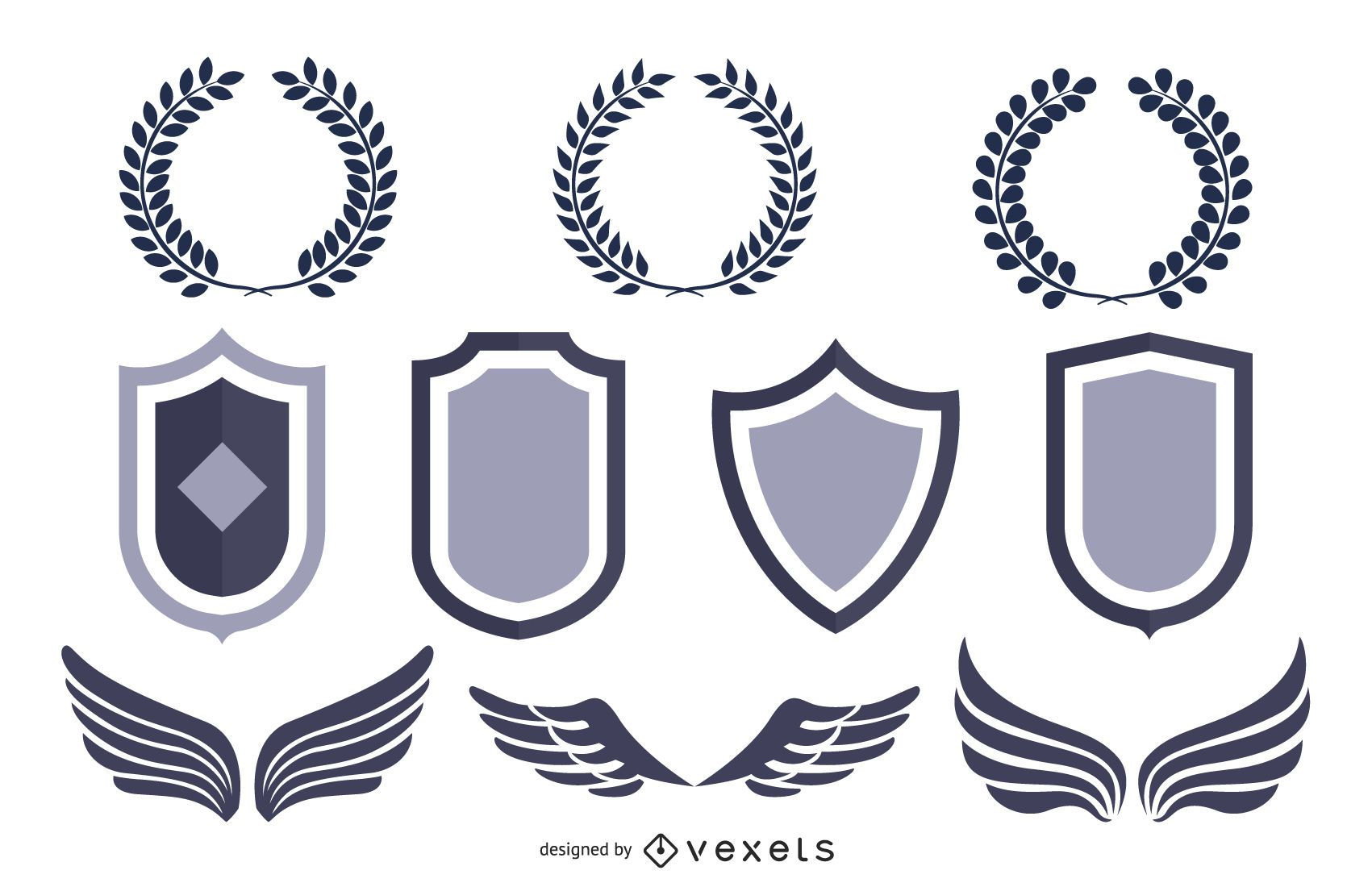 Heraldic Shield Pack with Animals & Wings
