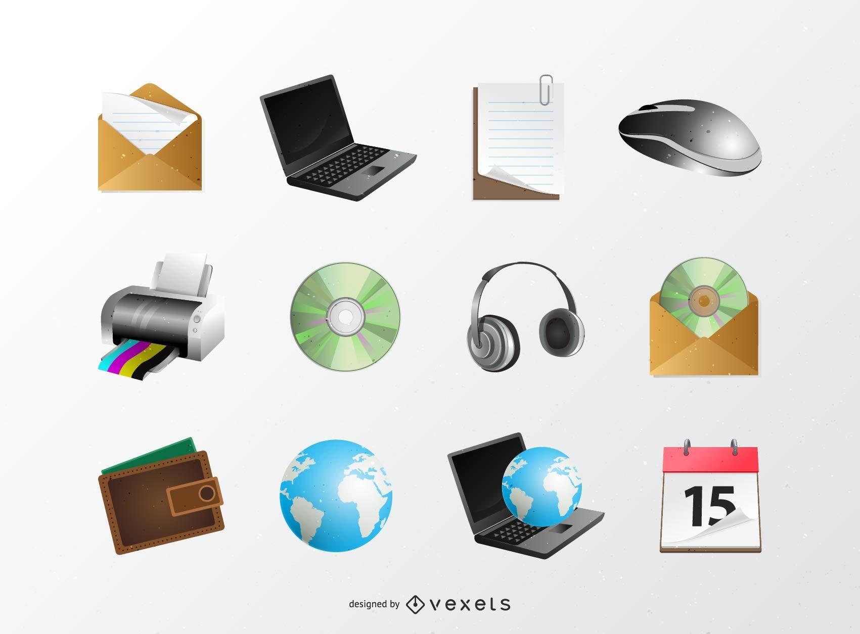 Pacote de ícones da web em 3D brilhante