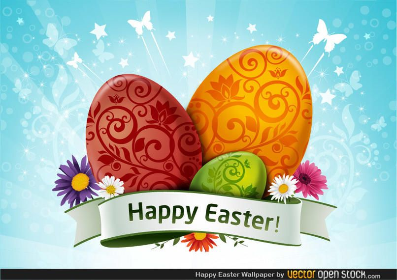 happy easter wallpaper vector download