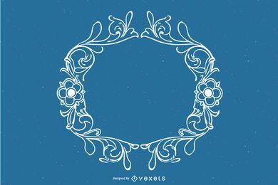 Hermoso marco ornamental de contorno vintage