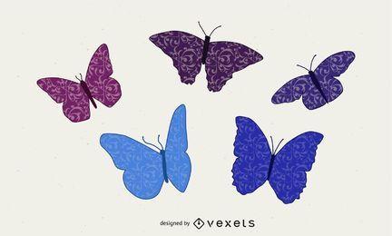Paquete de mariposas con alas de patrón