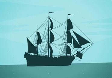 Barco pirata de silueta