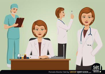 Conjunto de médico feminino