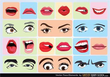 Vector elementos de la cara