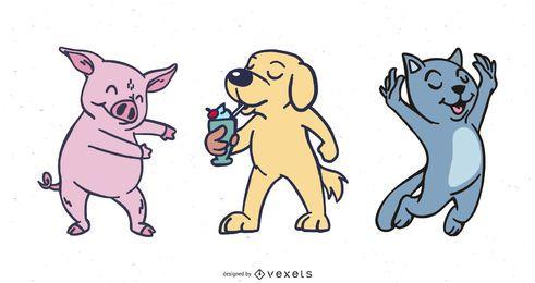 Pacote de personagem de desenho animado funky