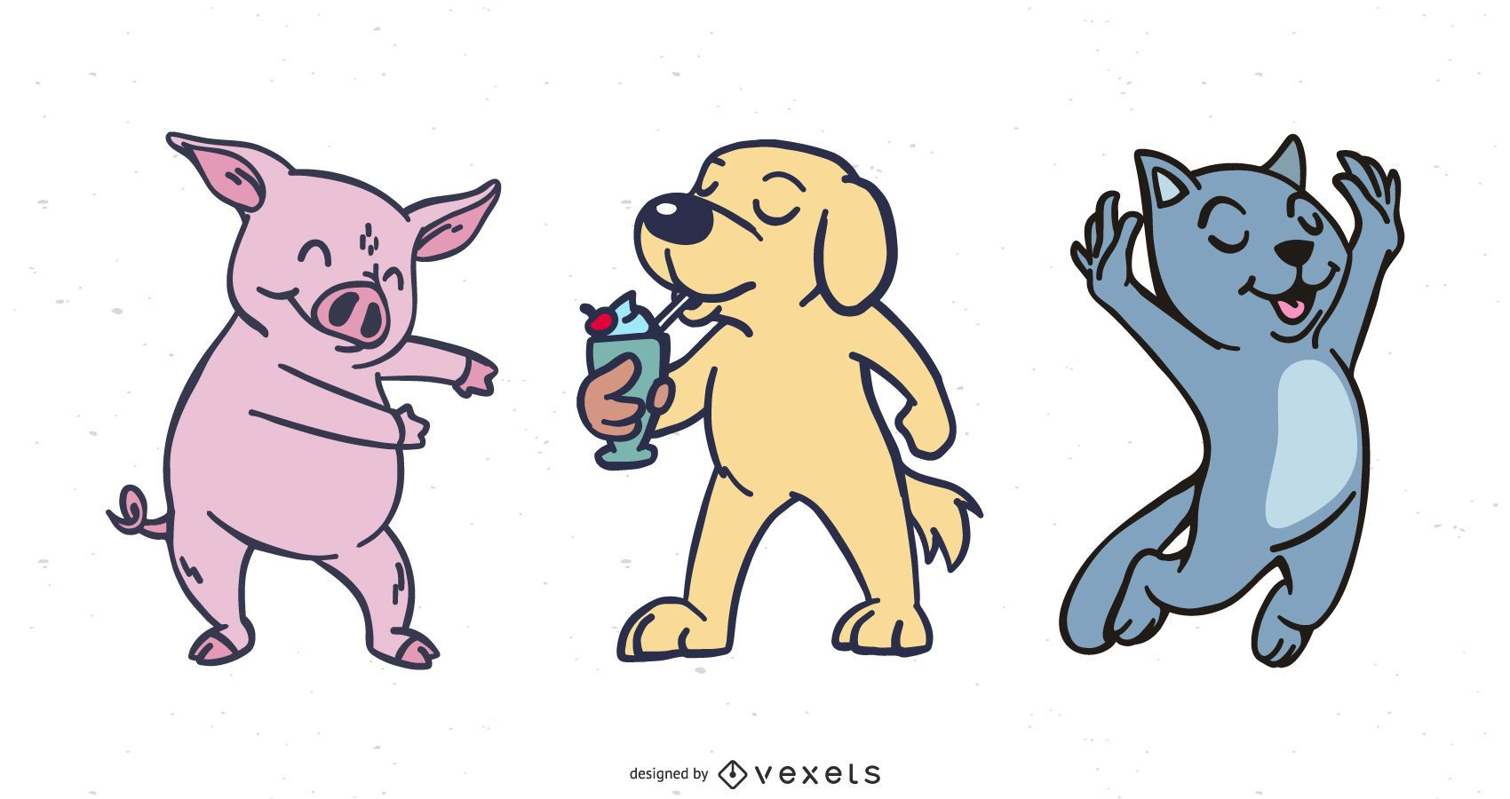Paquete de personajes de dibujos animados funky