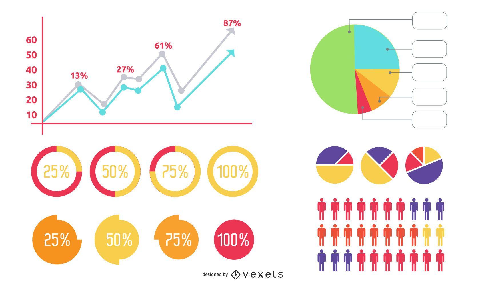 Pacote de ícones de gráficos de negócios