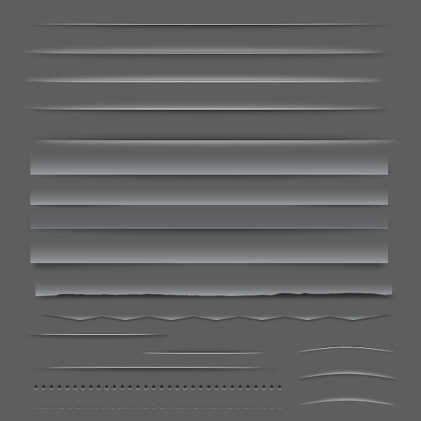 Paquete de elementos web divisores o barras