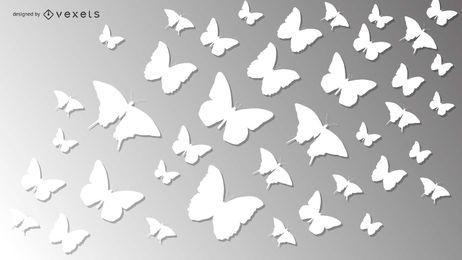 Paquete de mariposa de papel blanco cortado