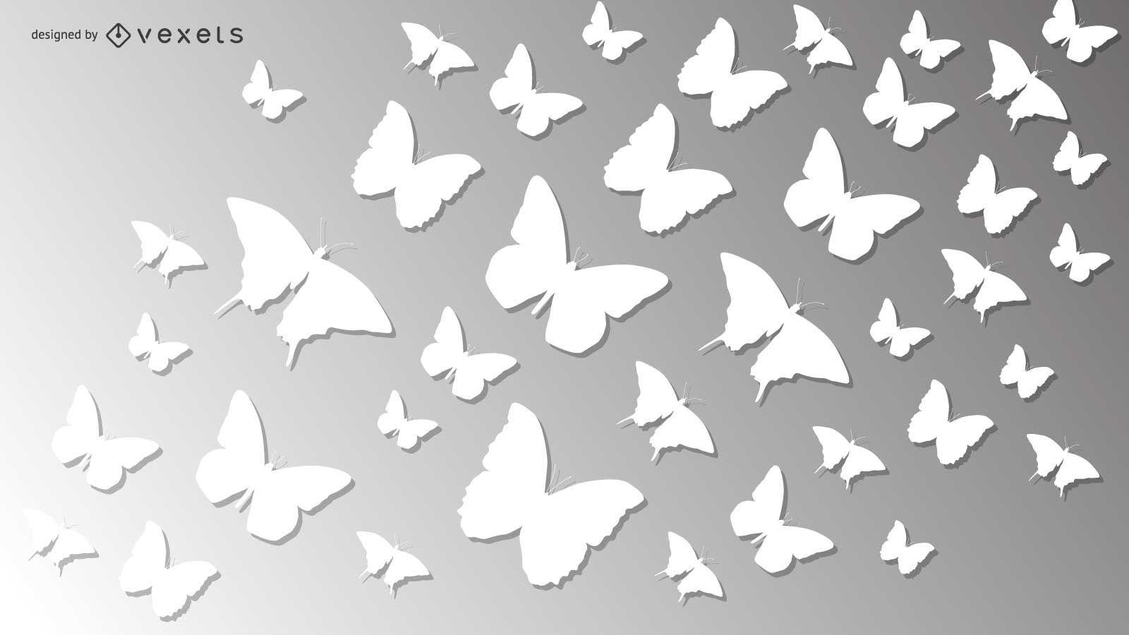 Paquete de mariposa de papel blanco