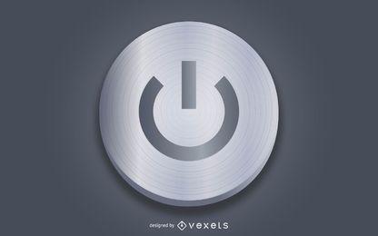 Botón de encendido gris realista