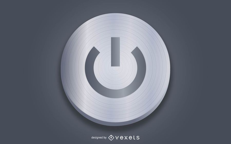 Realistic Grey Power Button