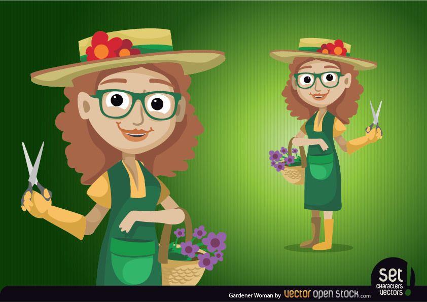 Carácter de mujer jardinero