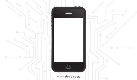 Schwarzes glänzendes iPhone mit leerer Anzeige