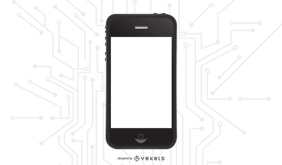 IPhone preto brilhante com tela em branco